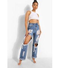 extreem versleten boyfriend jeans met omgeslagen zoom, mid blue