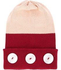 0711 button beanie - pink