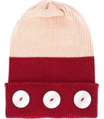 0711 button detail beanie - pink