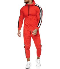 side striped hoodie and sports pants two piece set
