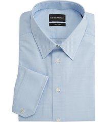 emporio armani men's micro-check cotton dress shirt - blue - size 15