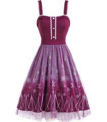 christmas snowflake mesh overlay high low dress