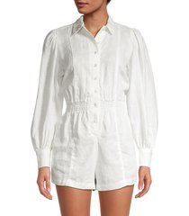 weworewhat women's linen button-up romper - burnt olive - size xs