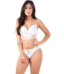 conjunto imi lingerie com bojo cropped em renda e tule diamante branco - branco/multicolorido - feminino - renda - dafiti