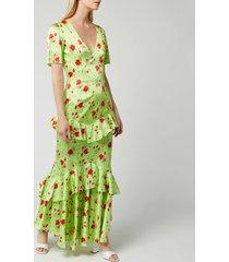 de la vali women's juliette silk satin dress - green rose - uk 12