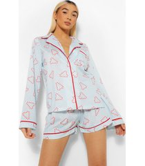 mix & match candy cane pyjama shirt, blue