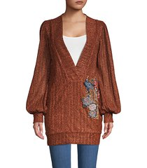 plunging v-neck embroidered lurex tunic