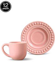 conjunto 12pçs xícaras de café 75ml porto brasil atenas rosa