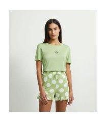 pijama curto em viscolycra estampa poá e meninas super poderosas | meninas super poderosas | verde docinho | gg