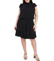 plus size women's 1.state flutter sleeve smock waist dress, size 3x - black