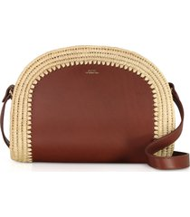 a.p.c. woven straw & leather demi-lune crossbody bag