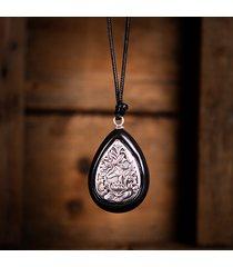 collane lunghe vintage gioielli etnici gioielli in argento antico collana di perle in legno di loto con goccia di pera