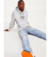 tommy hilfiger men's organic cotton logo hoodie silver grey heather - l