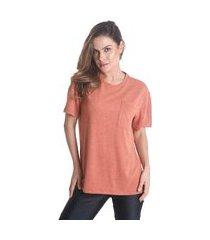 blusa camisetão com bolso touch - laranja - líquido