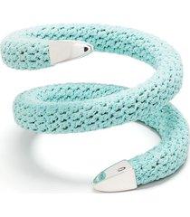bottega veneta crochet cuff bracelet - blue