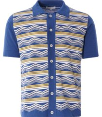 far afield zigger short sleeve cardigan | blue multi | afkn206-blu