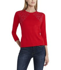 vince camuto women's studded shoulder sweater