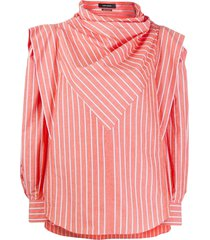 isabel marant welly striped structured blouse - orange