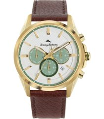tommy bahama men's chronograph brown leather starp watch, 43mm