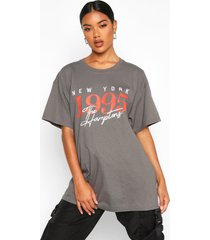 the hamptons graphic slogan oversized t-shirt, charcoal
