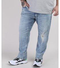 calça jeans masculina plus size slim destroyed azul médio