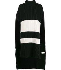 joseph poncho de tricô listrado - preto