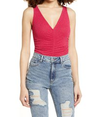 women's leith sleeveless ruched v-neck bodysuit, size xx-small - red