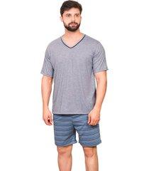 pijama masculino manga curta gola v 100% algodã£o - azul/cinza - masculino - algodã£o - dafiti