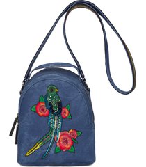 mochila feminina bordada com pássaro - azul