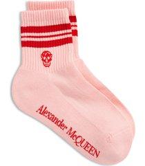 women's alexander mcqueen stripe skull socks, size large - red