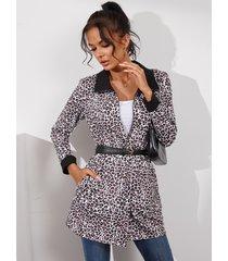 yoins abrigo de manga larga con cuello de solapa reversible de leopardo negro