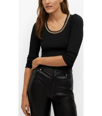 mango women's chain fine-knit sweater