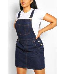 plus denim tuinbroek jurk met gerafelde zoom, donkerblauw