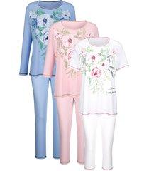 pyjama's per 3 stuks harmony wit::roze::lichtblauw