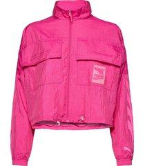 evide track jacket woven zomerjas dunne jas roze puma