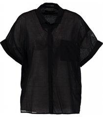 replay zwarte oversized blouse katoen
