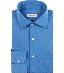 camicia da uomo su misura, maglificio maggia, azzurra melange piquet cotone, quattro stagioni | lanieri