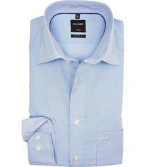 olymp luxor modern fit shirt strijkvrij lichtblauw ruit