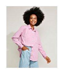 camisa de sarja feminina mindset ampla com bolsos manga longa rosa claro