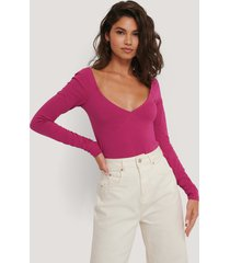 na-kd cup detail long sleeve body - pink