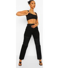 boyfriend jeans met hoge taille en contrasterend paneel, washed black