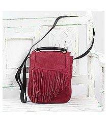 suede shoulder bag, 'fringed magic' (india)