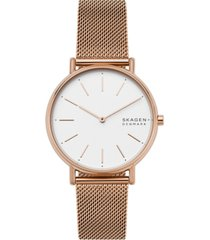 skagen women's signatur rose gold-tone stainless steel mesh bracelet watch 38mm