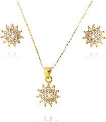 conjunto lua mia joias clássico florzinha de zircônias banho ouro