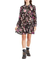 sanctuary floral long sleeve babydoll dress, size large in deep solst at nordstrom