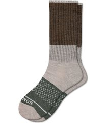 men's bombas heathered colorblock wool blend crew socks, size large - beige