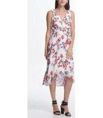 dkny floral chiffon v-neck midi wrap dress with belt