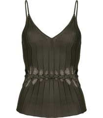 dion lee v-neck braided cami top - green