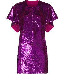 ashish cape-effect sequinned mini dress - pink