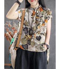 tasca con stampa floreale di foglie plus camicetta vintage taglia alta-bassa